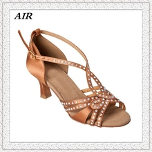 Rhinestone Dance Shoes Salsa Sandal Woman Latin Dance Shoes Ballroom Shoes Peep Toe Satin Customized Heels JYG884