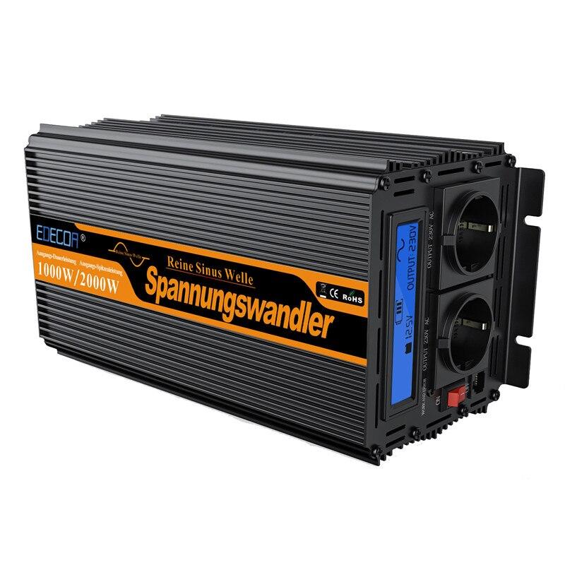 EDECOA onduleur 1500 watts 3000 W crête onde sinusoïdale Pure convertisseur d'énergie solaire convertisseur 24 V DC à 220 V 230 V avec LCD