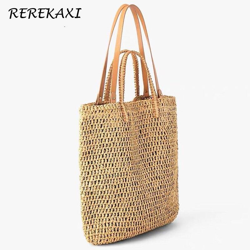 Women Hollow Straw Woven Ladies Tote Handbag Travel Summer Beach Shoulder-bag