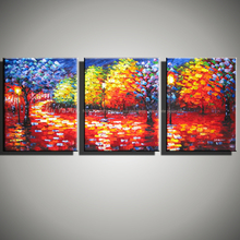 Abstract modern 3 panel canvas art famous Paulette Knife artist handmade oil painting wall art  living room pictures decoration