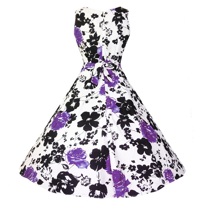 Kostlish Cotton Summer Dress Women 2017 Sleeveless Tunic 50s Vintage Dress Belt Elegant Print Rockabilly Party Dresses Sundress (90)