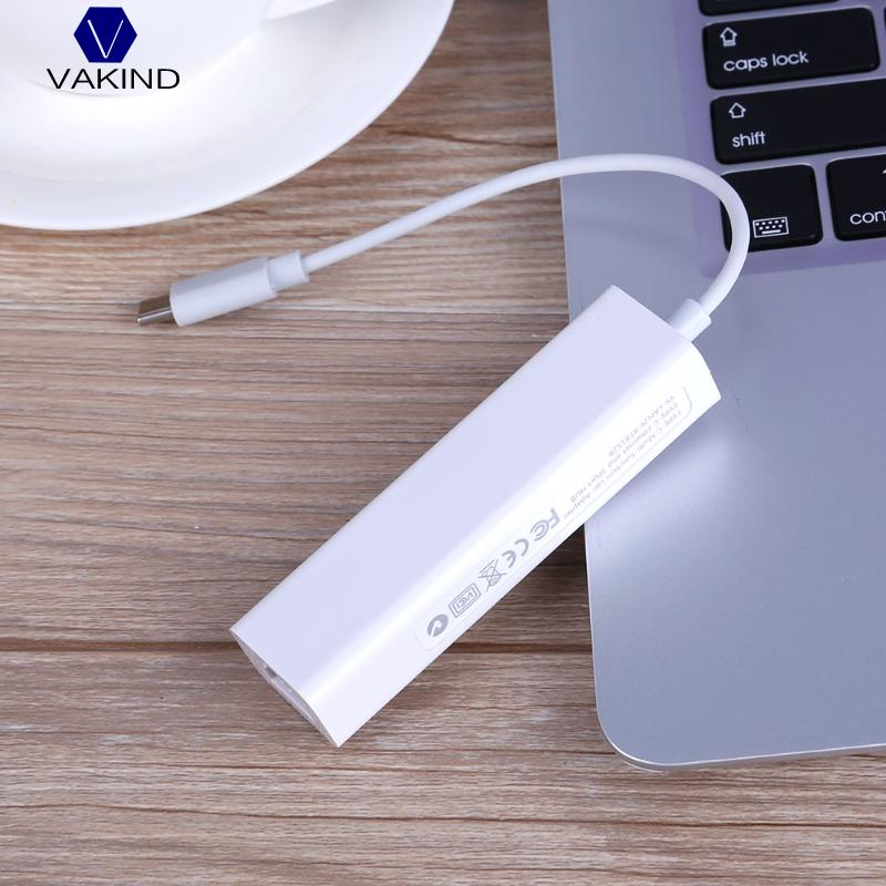 VAKIND 3 Ports USB 3.0 HUB Type C to Ethernet LAN RJ45 Cable Adapter Network Card High Speed Data Transfer Adapter For Macbook usb 3 0 1000mbps gigabit ethernet adapter usb to rj45 lan network card 3 port usb3 0 hub for windows 7 8 10 vista xp macos pc