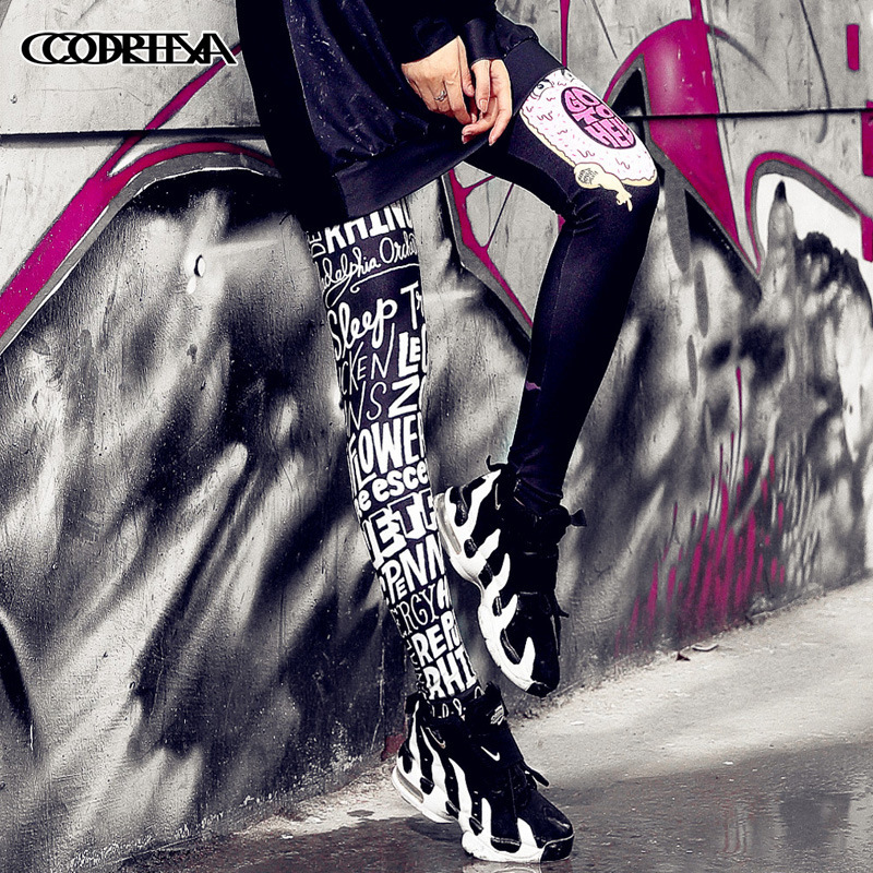Women Gothic Leggings Pink Thin Soft Lacina For Girls Fitness Letter Printed Graffiti 3D Harajuku Punk Rock Pants