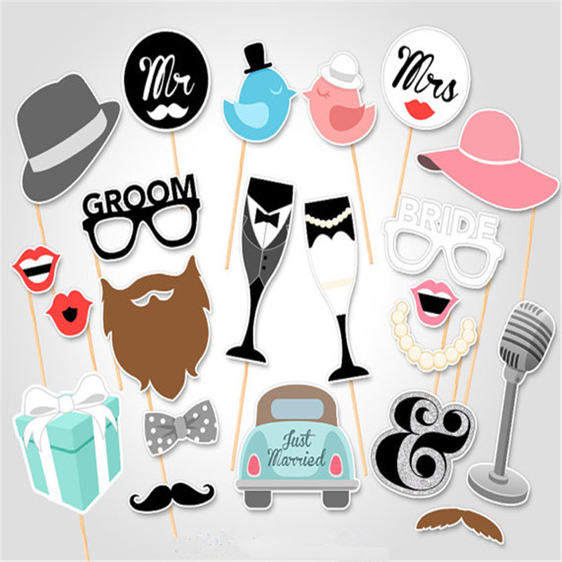 Wedding Favor 25Pcs Photo Booth Props Mr Mrs Just Married Romantic Marriage PhotoBooth Bridal Shower Party Fun Decor Supplies