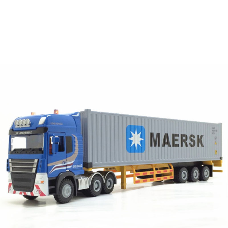 1/50 Alloy Metal Truck Trailer Container  Truck High Simulation Diecast Model  Engineering Vehicle Child Toy Gifts Collect Show