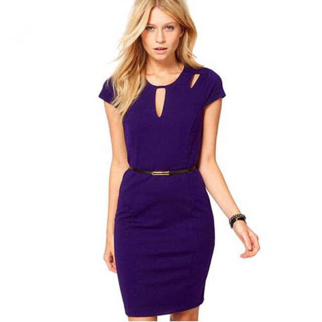 Ado Summer V Neck Cut Out Slim Business Office Dresses Women Back Zipper Black Purple Short
