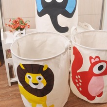 40*50cm Zakka Style Cartoon Canvas Cotton Linen Fabric Clothing Barrels Laundry Storage Basket/Bags for Toys/Book/towels