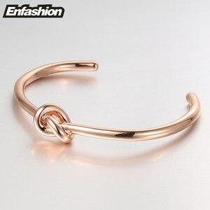 Image 4 - ENFASHION Wholesale Knot Cuff Bracelets Gold Color Manchette Bangle Bracelet For Women Armband Fashion Jewelry Pulseiras B4286