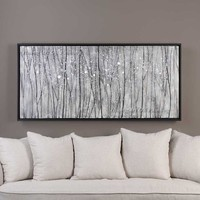 Hand Painted Modern Landscape Oil Painting Wall Decor White Birches Abstract Tree Painting On Canvas For Living Room Hotel Decor