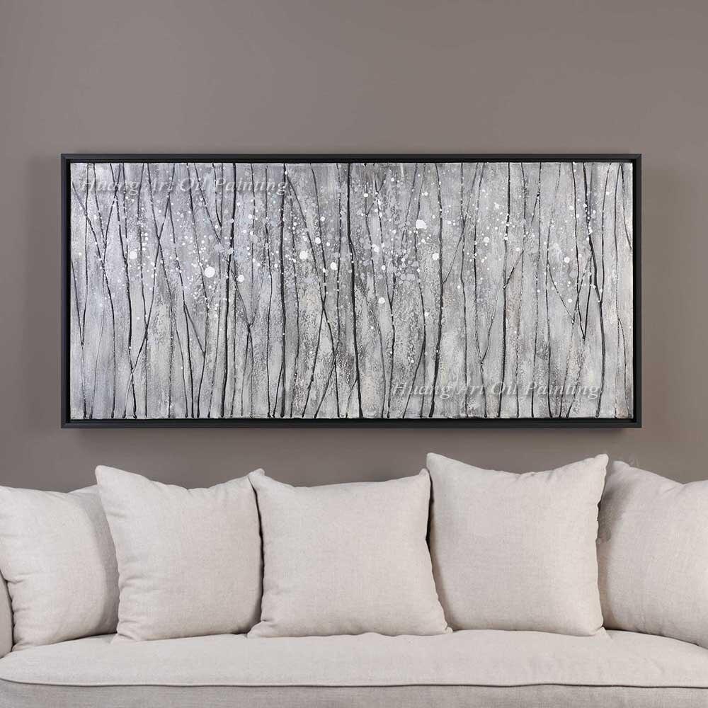 Peint à la main moderne paysage peinture à l'huile mur décor blanc bouleaux abstrait arbre peinture sur toile pour salon hôtel décor
