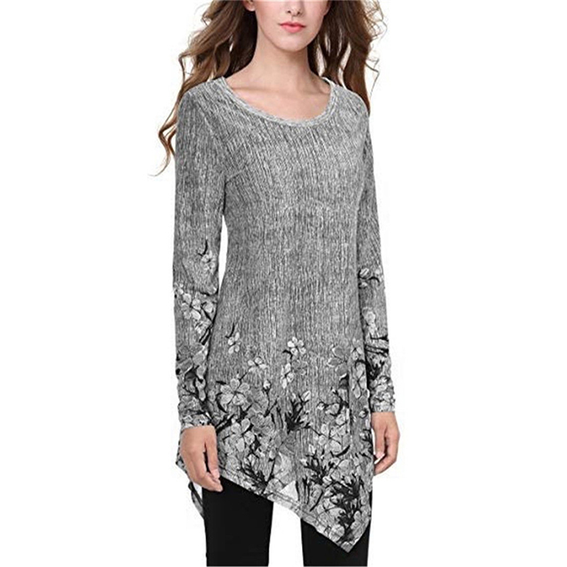 Considerate Chinese Style Floral Printed Womens Tops And Blouses O Neck Long Sleeves Irregular Tops Plus Size Camisa Feminina Sj1572e Matching In Colour Women's Clothing
