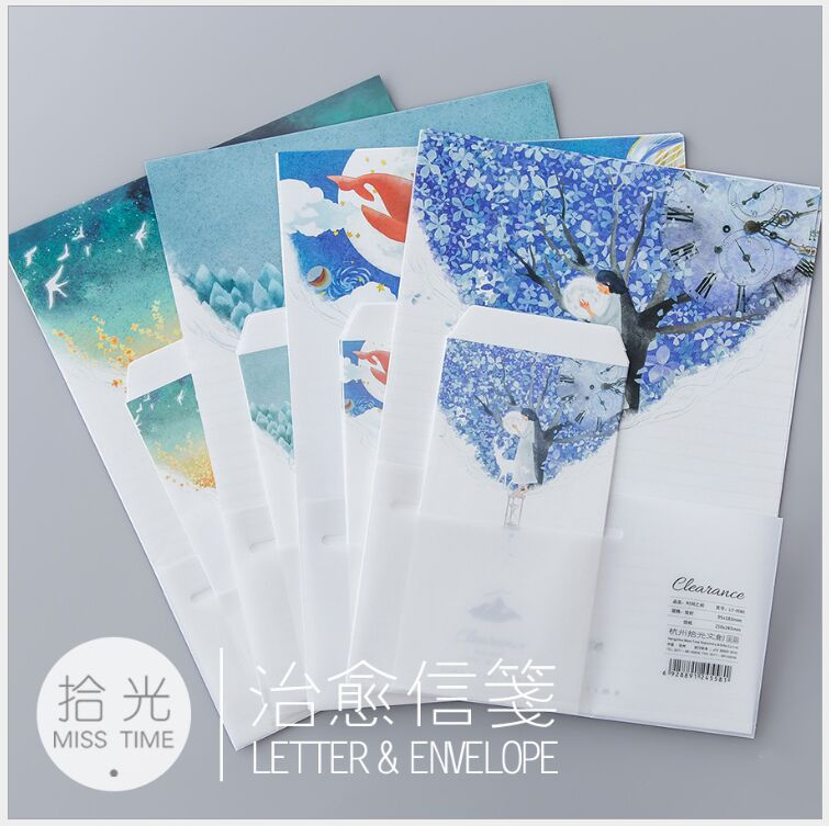 Clearance Time Space Dreamlike color Letter Envelope 6 pcs letter paper+3 pcs envelope per set writing paper Stationery gift