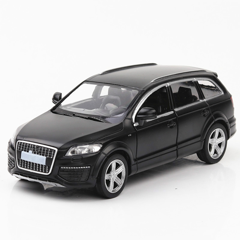 For Audi Q7 Off-road Vehicle SUV Alloy Car Model Simulation Speelgoed Auto Black Pull Back Open Door Model Car Kids Toys 4 Year image