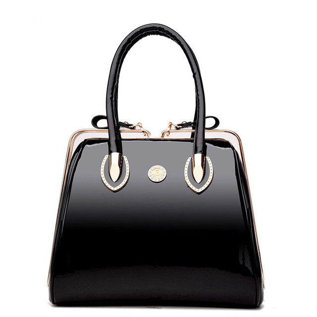 Famous Women Frame Handbag Patent Leather Shoulder Bag Las Designer Handbags High Quality Large Capacity Tote