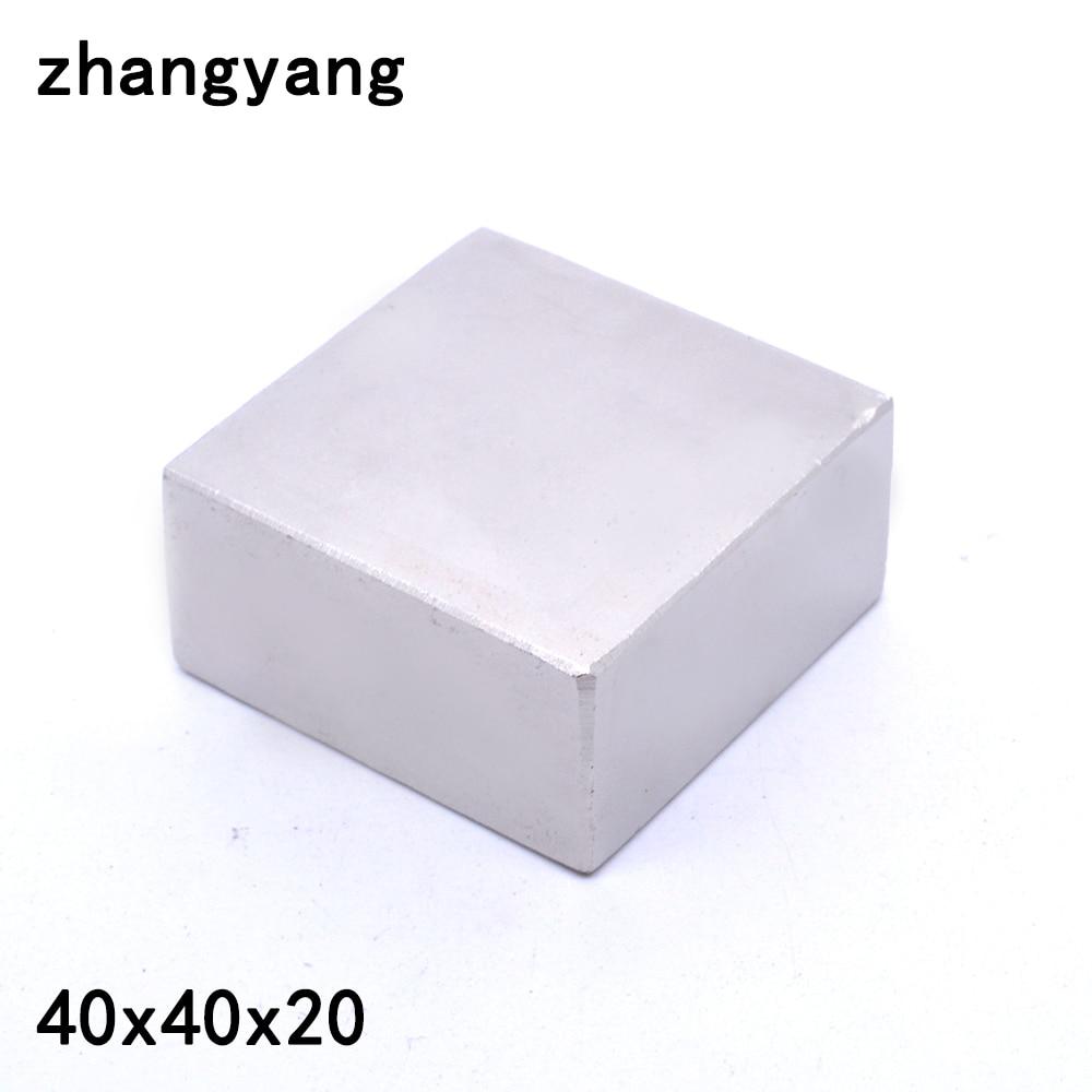 1 pcs bloc 40x40x20mm Super Puissant Forte Rare Terre Bloc NdFeB Aimant Néodyme Aimants (37*37*17)