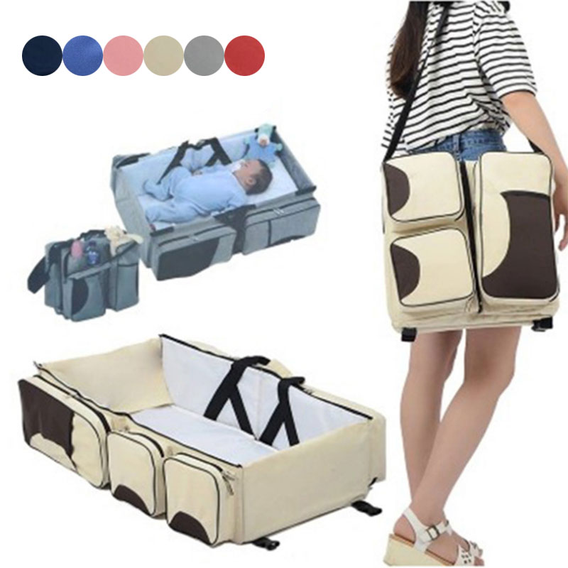 Portable Folding Baby Crib Travel Bed Multifunction Large Capacity Mother Shoulder Bag Fj88