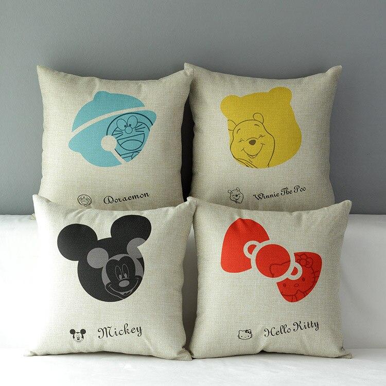 Doraemon pillow cover, creative cartoon Animation hello kitty Mickey Mouse Winnie throw pillow cover wholesale