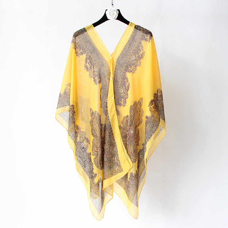 VISNXGI Fashion Floral Chiffon Blouses Women Spring Summer Style Beachwear Cover Up Elegant Flower Print Chiffon Loose Shirt 13