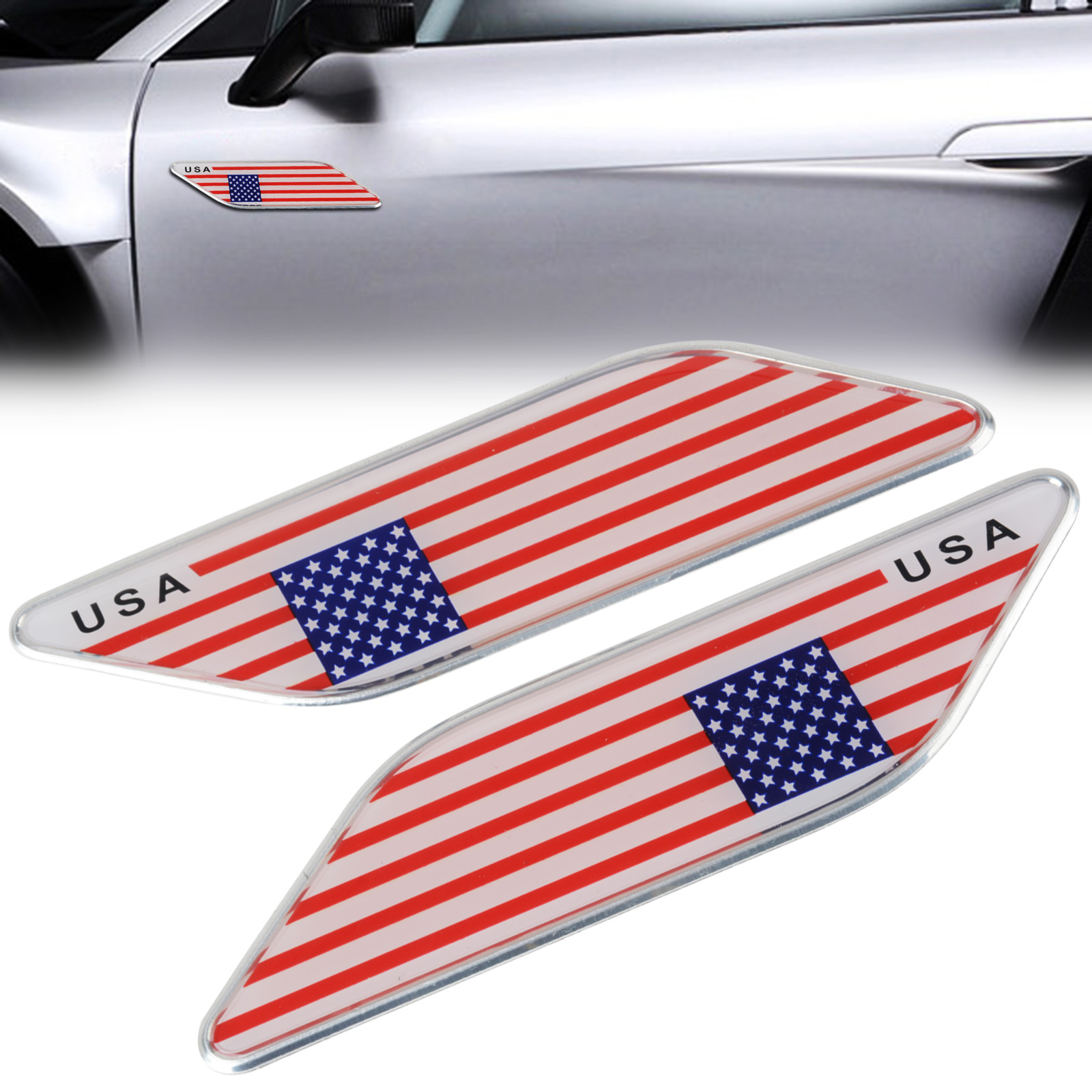 Mayitr 2pcs High Quality Metal American USA Flag Emblem Car Side Fender Skirt Badge Sticker Decal For Car Universal Use