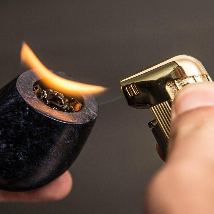 Creative טבק צינור כלים מצית Jet בוטאן לפיד גז סיגריות Inflatble מצית נירוסטה גברים עישון מצית LFB695