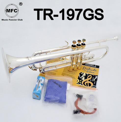 Brass Instruments Musical Instruments Clever Bach Stradivarius Professional Bb Trumpet Tr-197gs Silver Plated Gold Keys Instrumentos Musicales Profesionales Mouthpiece