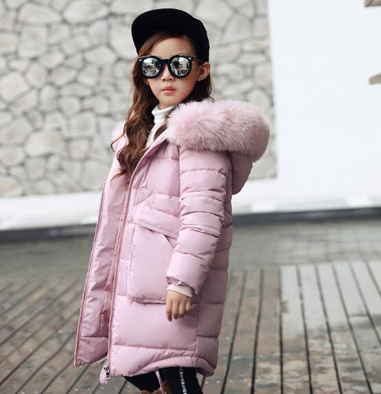 2016 hot Fur Baby Boys Outerwear Girls 90% Down Jacket Children Winter Coat Hooded Thickening Kids Padded Jackets