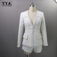 Для женщин Сексуальная V шеи твидовый пиджак жемчуга, Бисера Белое Пальто шорцев комплект из двух предметов офисный женский Вечеринка ансам