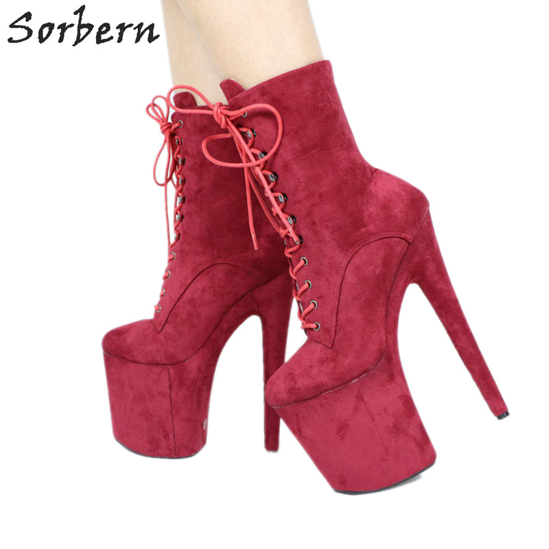 Sorbern Wine Red Ankle Boots Extreme High Heels Devious Shoe Fetish Heels 8 Inch More Colors