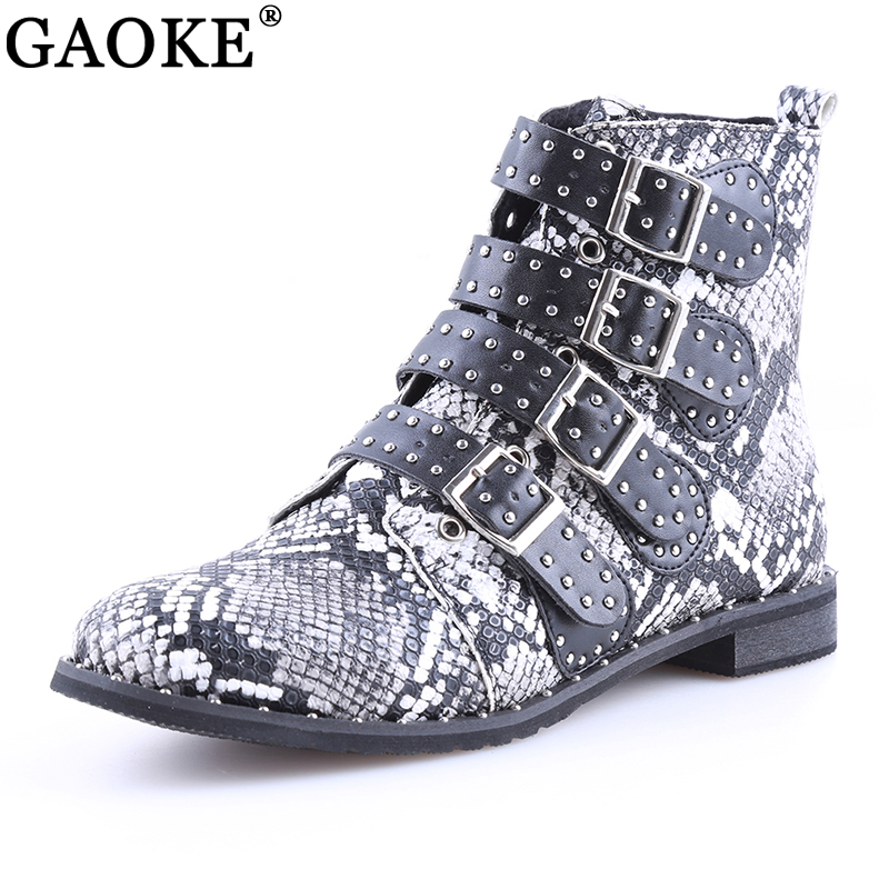 где купить 2018 Fashion Women Studded Ankle Boots Winter PU Leather High Top Flat Brand Casual Shoes Martin Boots Ladies Black Boots по лучшей цене