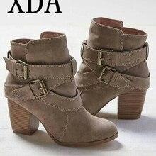 fc3a0ed7 XDA tamaño 35-42 Otoño Invierno botas mujeres Casual zapatos de mujer  zapatos botas Martin botas de cuero de gamuza tobillo bota.