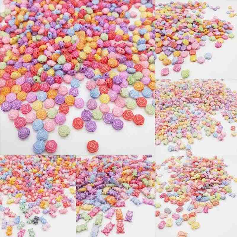50/100pcs Cheap Fashion Acrylic Beads DIY Flower Animal Bead for Making Bracelet Necklace Handmade Jewelry Accessories Wholesale