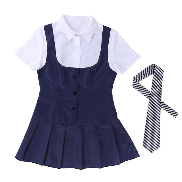 Sexy Cosplay Schoolgirl Costume Short Sleeve 6