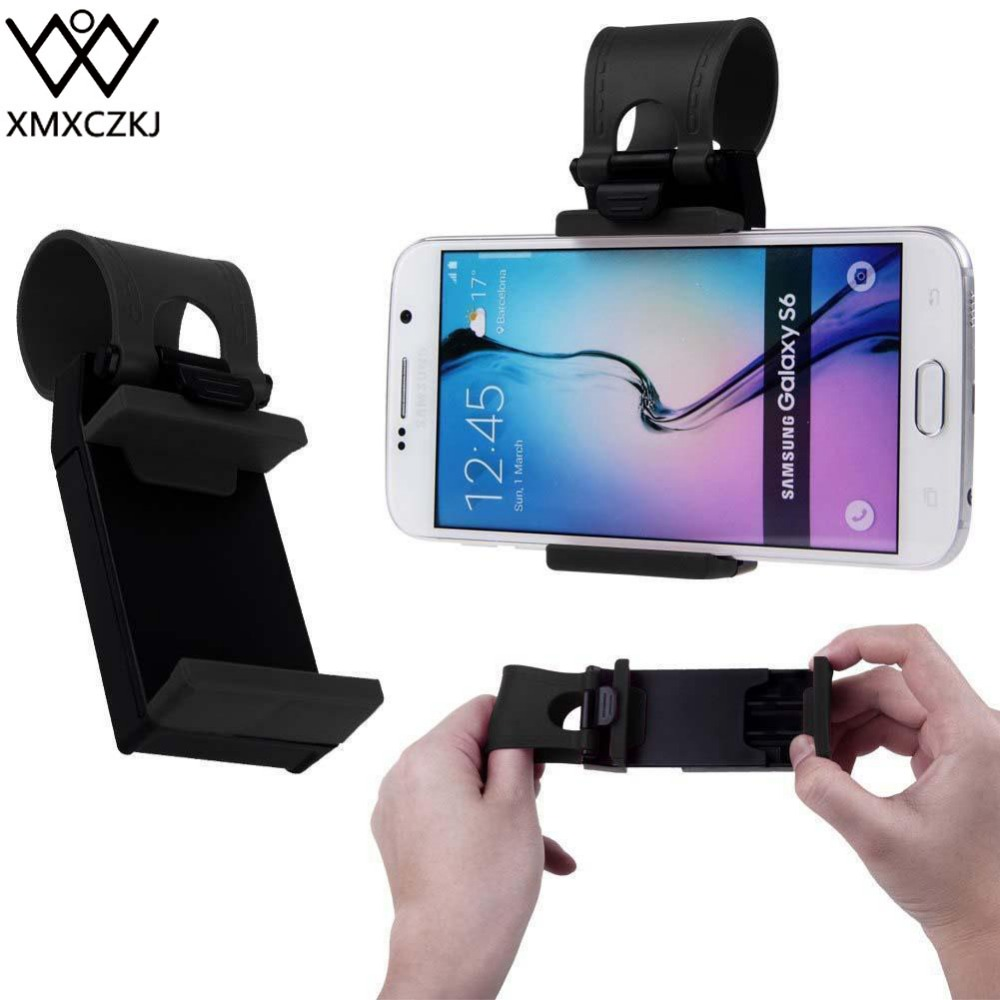 XMXCZKJ Universal Car Steering Wheel Clip Mount Holder for iPhone XR 8 7Plus 6 6s Samsung Xiaomi Huawei Mobile Phone GPS steering wheel phone holder