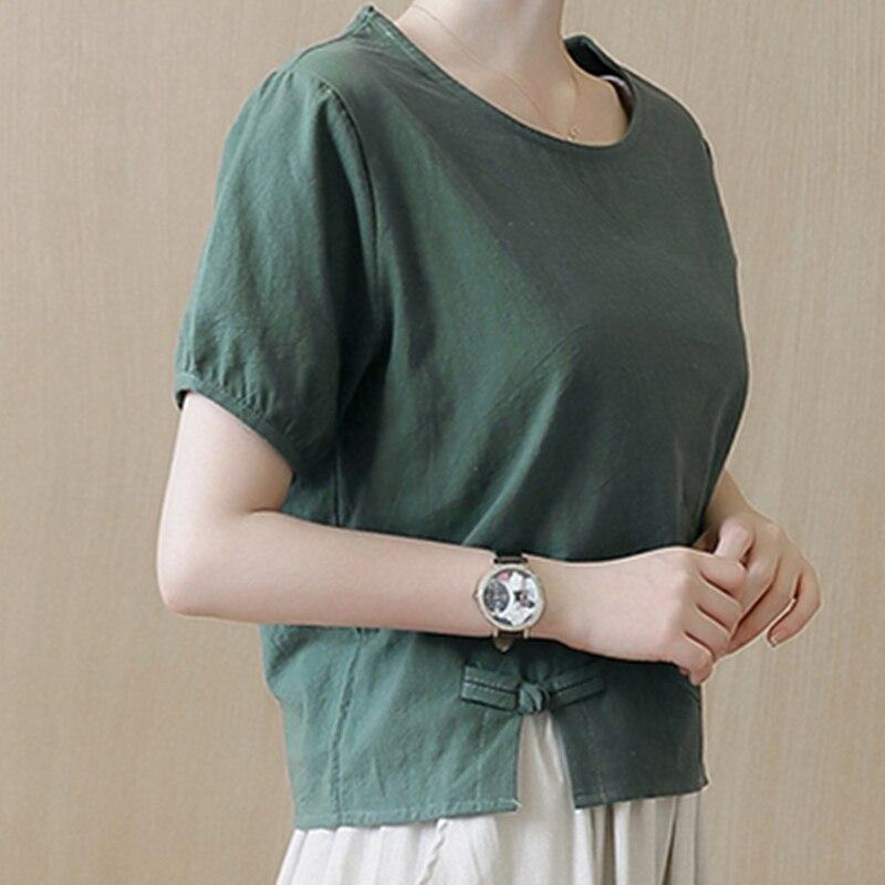 Блузка женская с коротким рукавом повседневная хлопково льняная