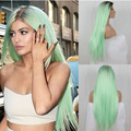 Hot Selling Ombre 1B/Light Green Long Straight Halloween Party Wigs Heat Resistant Fiber Hair Synthetic Wigs
