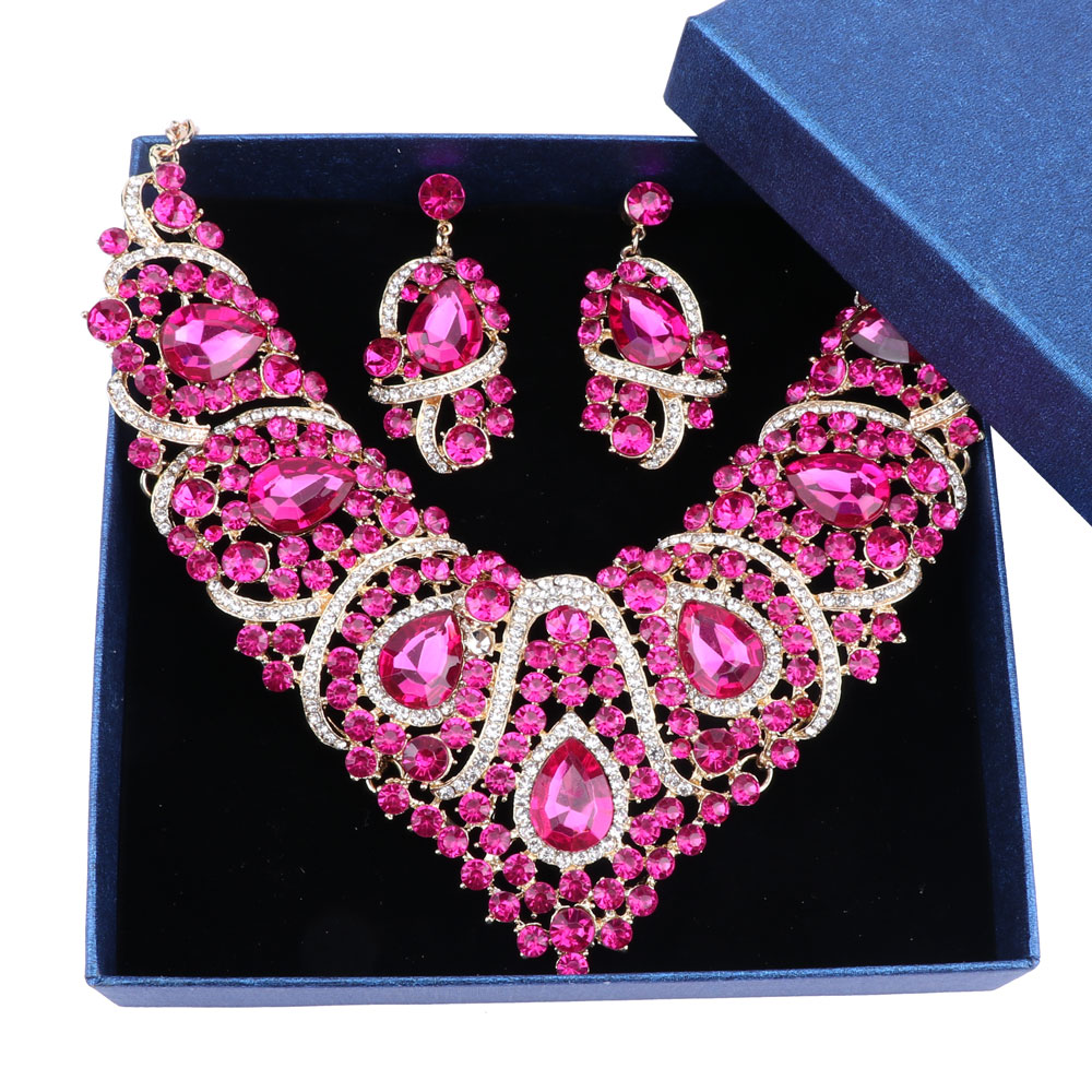 Rose Red Crystal Rhinestones Necklace Set for Women Wedding   Engagement  Accessory Fashion Bridal Jewelry sets-in Bridal Jewelry Sets from Jewelry  ... e7be52c4cb83
