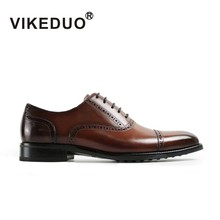 2019 Vikeduo Handmade Vintage Retro Mens Oxford Shoes 100% Genuine Leather Painted Formal Dress Wedding Patina Brogue Zapatos