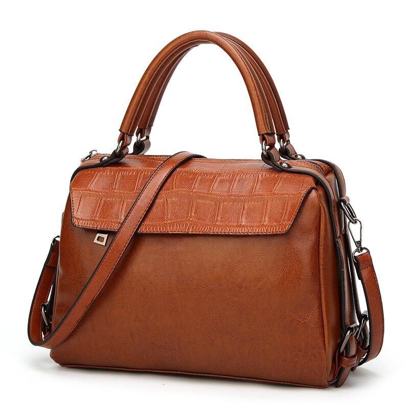 2018 Limit Discount Women Genuine Leather Shoulder Bag Casual Totes Female Handbag Vintage Briefcase Strap Top-Handle Zipper Bag