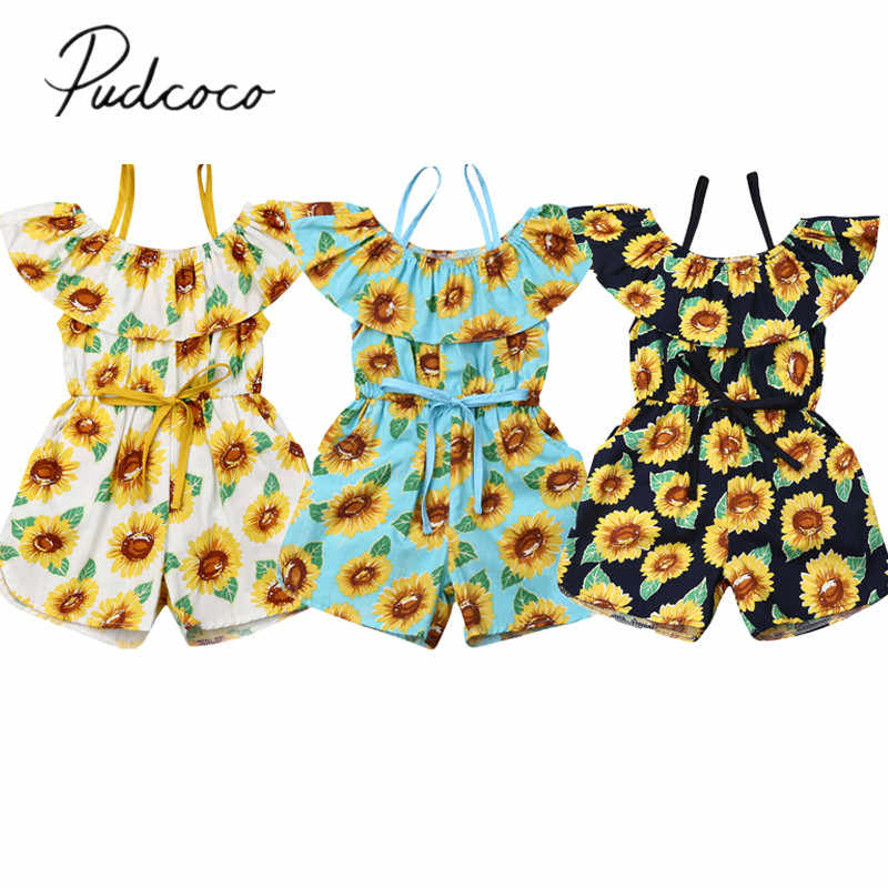 2019 Baby Sommer Kleidung Kleinkind Baby Mädchen Romper Kleidung Sling Sunflower Off Schulter Spielanzugoverall Ruffled Outfit Sunsuit