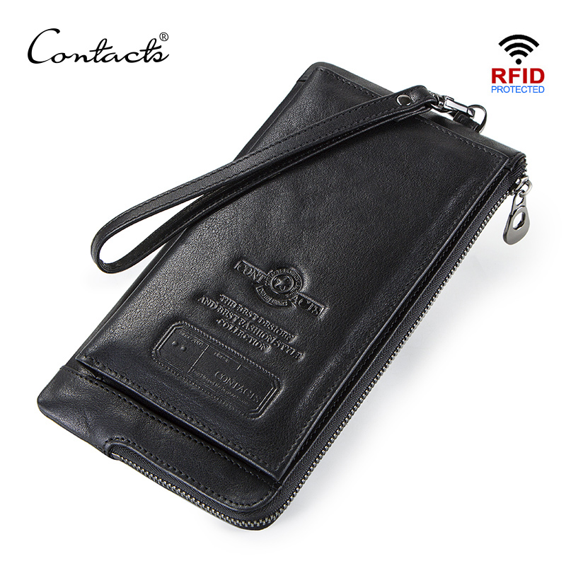 CONTACT'S Clutch Wallet For Men Genuine Leather RFID Zip Purse Phone Card Holders Long Male Walet Hasp Coin Pocket Men's Cuzdan