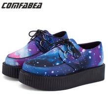 Size 35 40 HARAJUKU VIVI ZIPPER color block galaxy blue flat creepers platform shoes for font