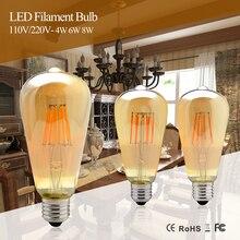 Dimmable COB LED Vintage Filament Retro Edison Incandescent Bulbs 220V 110V 2200K 27000K 4W 6W 8W Filament Lamp Vintage Lighting