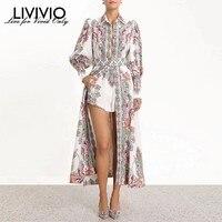 [LIVIVIO] Zim Vintage Print Long Lantern Sleeve Side Split Maxi Dresses Women Trench with Belt Female Fashion 2019 Summer