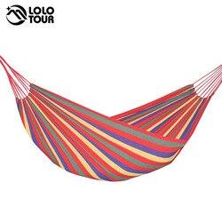 240*150cm 2 personas hamaca al aire libre cama de ocio cama colgante doble lona para dormir hamaca de camping caza 3 Color