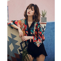Bohemian Style Womens Summer Shirt V Neck Beach Top Vintage Print Summer Loose Satin Blouse