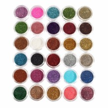 30pcs Mixed Colors Powder Pigment Glitter Mineral Spangle Eyeshadow Makeup Cosmetic Set Long-lasting 2016 Random Color