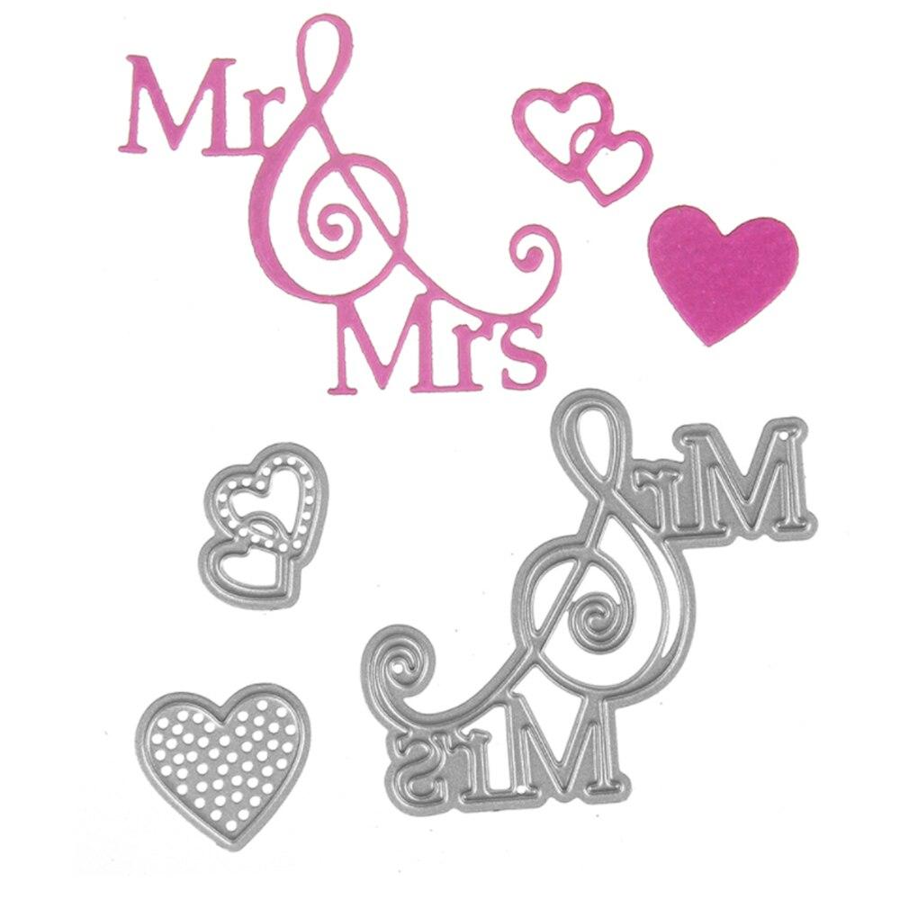 Bi fujian Mr love Mrs Metal Cutting Die Crafts Embossing Scrapbooking Dies Carbon Cuts Paper Card Stencil For Book AlbumsDecor