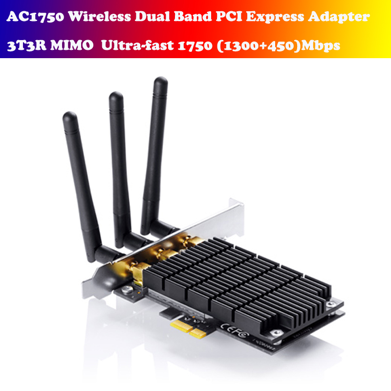 TP-LINK AC1750 Ultra-fast Wireless Dual Band desktop PCI Express Adapter 802.11ac 1750Mbps Archer T8E new tp link wdr7400 1750mbps 11ac 6 antenna fast wifi extender wireless dual band router for home computer networking