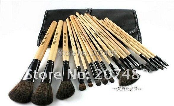 new portable 18 in1 brush sets High Grade pure natural Hair Makeup Kit cosmetic tool professional bag