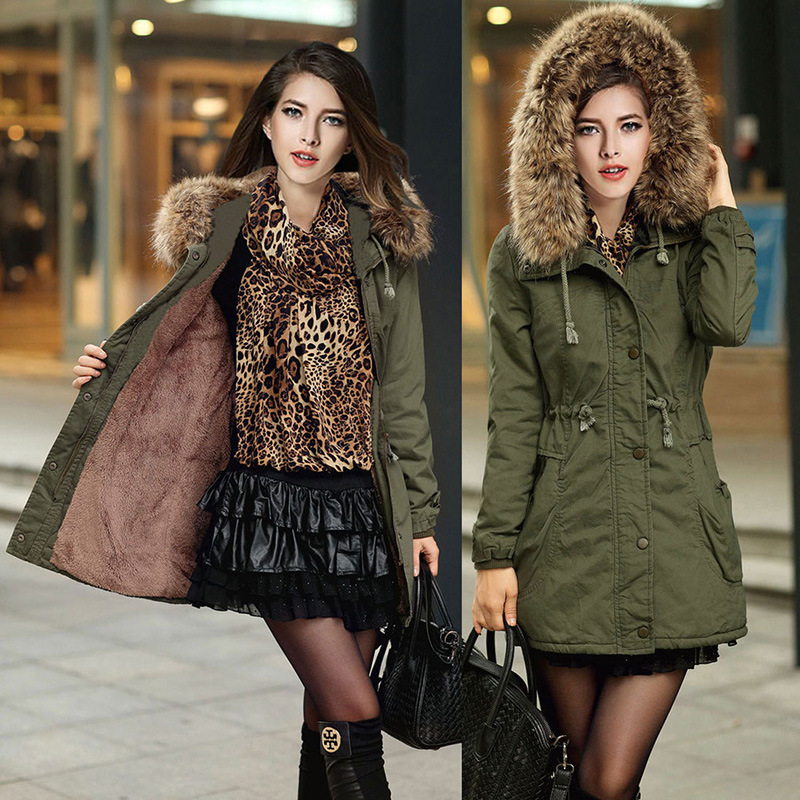 New 2016 Winter Coats Women Jackets Fur Collar Thick Ladies Cotton & Parkas Army Green Solid Color Slim Outwear Female MZ654